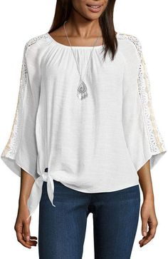 Alyx 3/4 Sleeve Round Neck Gauze Blouse White Wardrobe, Blouse Styles, Shirt Blouses, Boho Chic, Bell Sleeve Top, Cute Outfits, Tunic Tops, My Style, Sleeves
