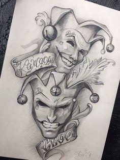 hand tattoo clown tattoo black and grey by Ljubomir Brkic - Tattoo World Tattoo Design Drawings, Pencil Art Drawings, Art Drawings Sketches, Tattoo Sketches, Cool Drawings, Tattoo Designs, Tattoo Outline Drawing, Clown Tattoo, Jester Tattoo