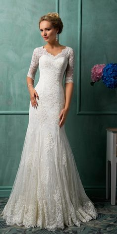 Don't really know that I could do the sleeves, but it is a VERY flattering cut. more: http://www.weddingforward.com/lace-wedding-dresses/
