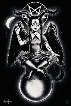 Wednesday Addams as Baphomet Satanic Tattoos, Satanic Art, Arte Horror, Horror Art, Satan Drawing, Age Of Mythology, Horror Drawing, Baphomet, Evil Art