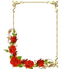 frame png | Frames PNG douradas com rosa vermelhas-Imagens para photoshop