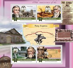 Post stamp Maldives MLD a anniversary of the Pony Express (William Hepburn Russell Simpson Springs, Alexander Majors William B. Pony Express, Maldives, Stamps, Anniversary, Movie Posters, The Maldives, Seals, Film Poster, Popcorn Posters