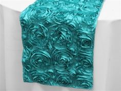 Grandiose Rosette Table Runners � Turquoise | Tablecloths Factory