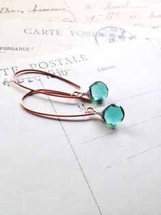 E c h o i n g. G r e e n... Green teal hydro quartz earrings by CrowandIris