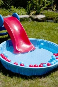 toddler slide into kiddie pool with ball pit balls in it. Looks fun, totally doing this for littles this summer! Craft Activities For Kids, Infant Activities, Summer Activities, Toddler Slide, Toddler Fun, Baby Play, Baby Kids, My Bebe, Kiddie Pool