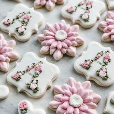 Baby Cookies, Baby Shower Cookies, Iced Cookies, Cute Cookies, Birthday Cookies, Royal Icing Cookies, Cupcake Cookies, Flower Sugar Cookies, Monogram Cookies