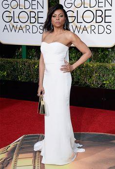 Taraji P. Henson wears a Stella McCartney custom ivory silk strapless dress with train and clutch.