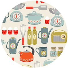 """Makower UK, Lila's Kitchen, Kitchenware Cream  Fabric is sold by the 1/2 Yard. For example, if you would like to purchase 1 Yard, you would enter 2 in the Qty. box at Checkout. Yardage is cut in one continuous piece.  Examples:  1/2 yard = 1 1 yard = 2 1 1/2 yards = 3 2 yards = 4   1/2 Yard Measures 18"""" x 44/45""""   Fiber Content: 100% Cotton  Hover over image for a larger, better view."""