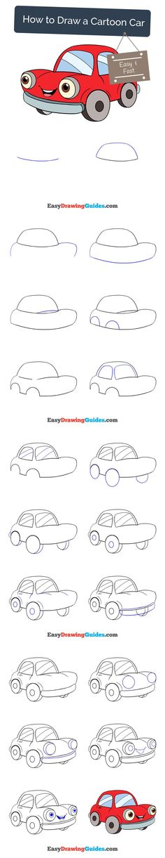 Learn How to Draw a Happy Cartoon Car: Easy Step-by-Step Drawing Tutorial for Kids and Beginners. #car #drawing. See the full tutorial at https://easydrawingguides.com/how-to-draw-a-cartoon-car/