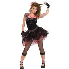 Rock out this Halloween as the Diva. The Diva Costume includes a black and pink dress with lace embellishment and tutu skirt. The costume comes with cropped fishnet leggings, black g Pop Star Costumes, 80s Halloween Costumes, Adult Costumes, Costumes For Women, Adult Halloween, Halloween Party, 1980s Costume, Awesome Costumes, Homemade Halloween