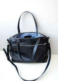 Black leather tote messenger bag with zipper and by ForestBags