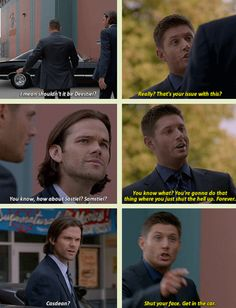 I hope we all realize that Dean gets the MOST angry when Sam starts mentioning Cas with other people