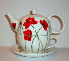 Pintado a mano amapola té para una taza del pote de té y 3 pieza juego de té para uno de plato amapolas o Cherry Blossoms, tarareo día de las madres de aves