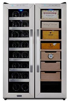This freestanding wine cooler and cigar humidor center by Whynter can store your finest wine and cigar in one unit in the cu. capacity and protect your cigar from pests or other harmful conditions. This wine cooler and cigar humidor. Beverage Refrigerator, Wine Fridge, Best Wine Coolers, Tall Cabinet Storage, Locker Storage, Thermoelectric Cooling, Cigar Humidor, Bottle Top, Bottle Labels