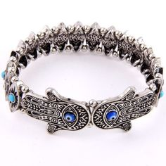 5aa37be02 Evil Eye Hamsa Hand Stretch Bracelet Silver or Antique Gold Arabic Jewelry,  Hamsa Jewelry,