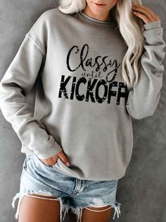 Season: Fall Style: Casual Material: Polyester Elasticity: Slightly stretchy Sleeve: Long Sleeve Neckline: Crew Neck Winter Outfits, Casual Outfits, Winter Clothes, Coaches Wife, Basketball Quotes, Soccer, Hoodies, Sweatshirts, Long Sleeve Shirts