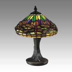 Dale Tiffany Dragonfly Table Lamp, Antique Brass and Art Glass Shade Tiffany Table Lamps, Table Lamps For Bedroom, Lamps For Sale, Led Desk Lamp, Cool Floor Lamps, Glass Shades, Antique Brass, Glass Art, Bulb