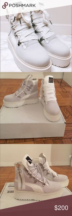 Sneaker Boot by Fenty by Puma Leather upper with man made sole, size zip closure, lace up front, women's size 7 but fit like an 8 Puma Shoes Lace Up Boots