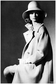 Jean Shrimpton photographed by David Bailey for British Vogue, 1963.