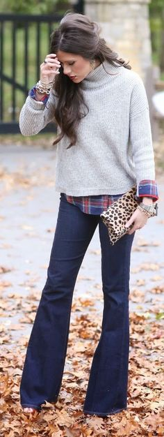 Navy Flares Grey Turtleneck Casual Fall Inspo by The Sweetest Thing