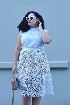 How to Style a Lace Skirt via @GirlWithCurves