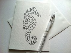 SEAHORSE card/print 525 x 725 inches set of five by gingerblue, $12.00