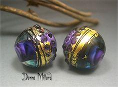 HANDMADE LAMPWORK earring pair beads Donna Millard sra summer fall autumn purple 22K gold teal boho gypsy organic assemblage