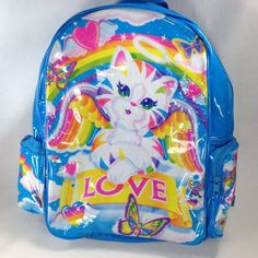 09975861ac Lisa Frank Chrissy Angel Kitty Cat Blue Backpack Love Rainbows Butterfly  Hearts
