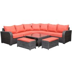 Westbury 6 Piece Sectional Aluminum Frame with Red Cushions   Weekends Only Furniture and Mattress