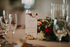 Make sure your wedding stationery blends in seamlessly with your reception look. How gorgeous do these custom DL menus look among these moody blooms? We love how the florals and stationery designs are simply a match made in heaven. Stationery Design, Wedding Stationery, Wedding Invitations, Made In Heaven, Match Making, Save The Date Cards, Florals, How To Memorize Things, Reception