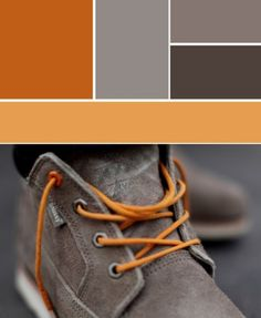 Color palette, orange and grey, shoe and laces.