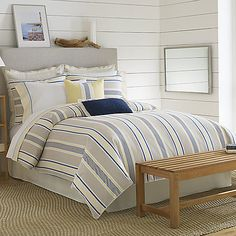 The Prospect Harbor bedding is the ultimate in simple luxury and clean lines thanks to its varying sized bands and stripes. The color palette of cool shades brings out its comfort and casual style.