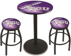 TCU Horned Frogs D2 Black Pub Table Set.  Available in two table widths. Visit SportsFansPlus.com for Details.