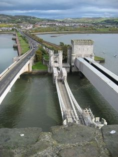 The three bridges to Conwy, Wales, UK. From the right the railway bridge, old bridge and the new bridge. Most of the traffic goes in the tunnel under the river Conwy.