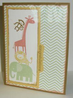 Zoo babies stampin up set baby card