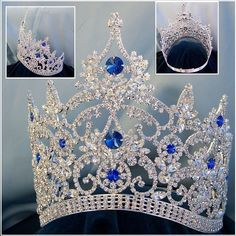 Continental Adjustable Contoured Silver Blue Sapphire Rhinestone Crown
