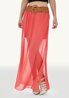 image of Belted Sheer Maxi Skirt