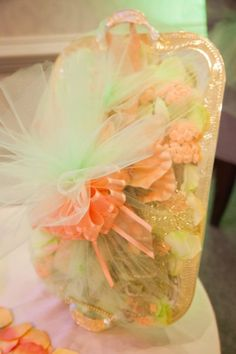 Nigerian Engagement Letter of Acceptance. Peach and Mint color theme. carol.eventlinens@gmail.com