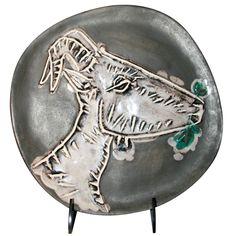 Ceramic by Pablo PICASSO.  France  1950  GOAT HEAD PROFILE Plate round / square.  Run of 200 numérotésR.398