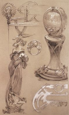 A page showcasing and discussing the incredibly inspiring Alphonse Mucha drawings.
