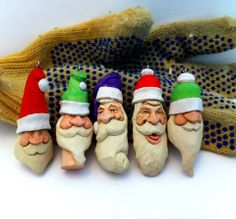 Santa ornaments by Mike Pounders.