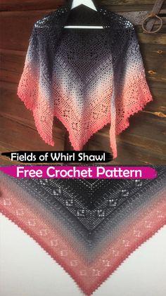 Fields of Whirl Shawl Free Crochet Pattern #crochet #crafts #fashion #shawl #handmade #homemade #style #idea