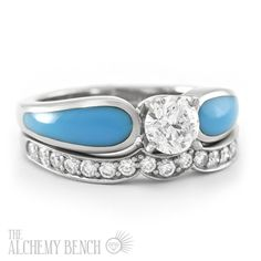 Turquoise, Diamond and White Gold Engagement Ring with One Diamond Band. One of our most popular styles! | The Alchemy Bench #BridalTransformed