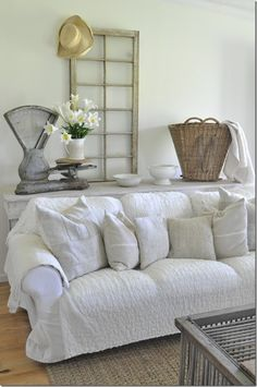Ikea Ektorp Sectional And Ottoman Lofallet Beige . 29 Awesome IKEA Ektorp Sofa Ideas For Your Interiors . Our Guest Cottage Bedroom: A Small Space On A Budget In . Home and Family Shabby Chic, Shabby Home, White Farmhouse, Farmhouse Decor, Farmhouse Style, Urban Farmhouse, Dorm Couch, Couch Covers, Pillow Covers