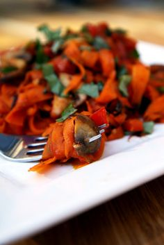 "Paleo Carrot ""Pasta"" with mushrooms recipe  #food #paleo #glutenfree"