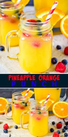 Best Pineapple Orange Punch Recipe Pineapple Orange Punch - floating fresh fruit in fruit juices and Sprite creates an easy party punch that everyone can enjoy! Try this easy recipe for any type of party! Acholic Drinks, Fruit Drinks, Refreshing Drinks, Party Drinks, Summer Drinks, Beverages, Fruit Juice Recipes, Bbq Party, Summer Bbq
