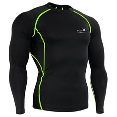 Baleaf Men's Long Sleeve Running Fitness Workout Compression Shirt Color Green Size XL - http://www.exercisejoy.com/baleaf-mens-long-sleeve-running-fitness-workout-compression-shirt-color-green-size-xl/fitness/