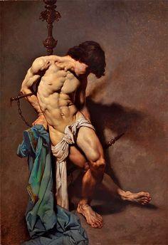 Roberto Ferri,San Sebastiano,oil on canvas