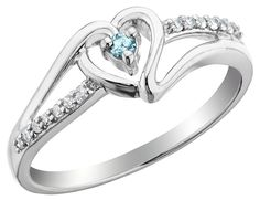 Aquamarine Heart Promise Ring with Diamonds 1/10 Carat (ctw) in Sterling Silver -- Details can be found by clicking on the image.