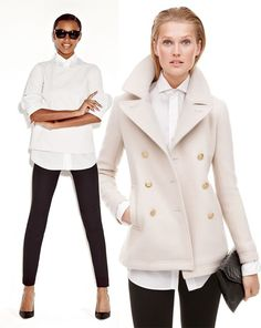 Cream Peacoat - White Sweater - Black Leggings